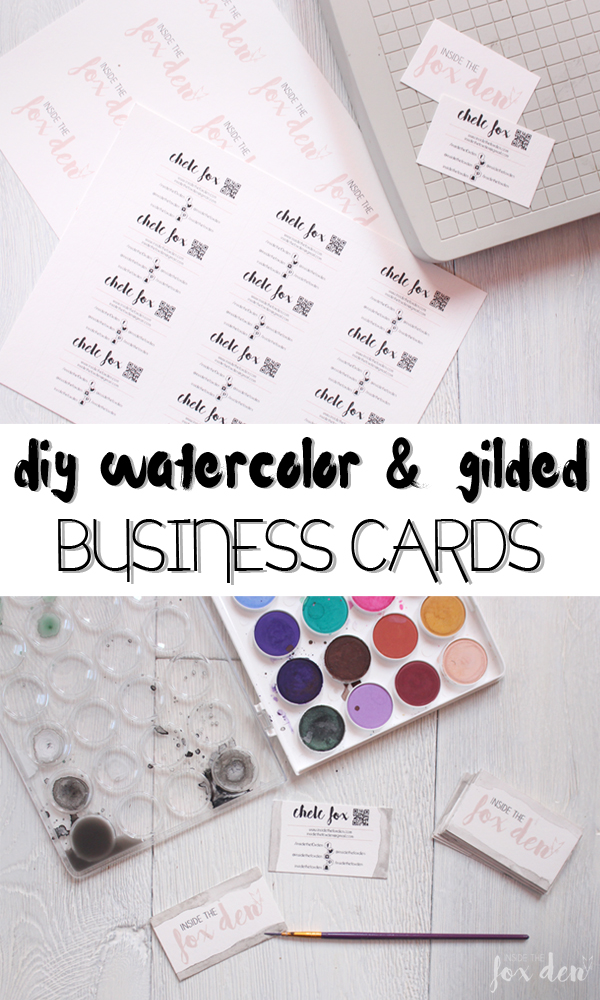 Diy watercolor gilded business cards diy business cards colourmoves