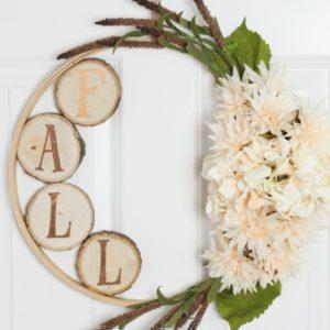 Fall Embroidery Hoop & Wood Slice Wreath
