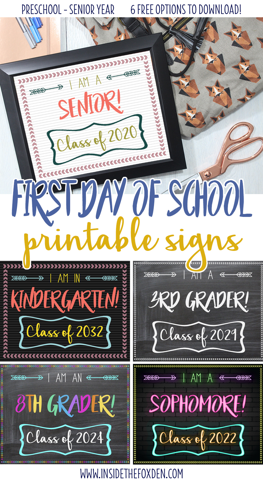 graphic regarding First Day of School Printable called Cost-free 1st Working day of College Printable Indicators